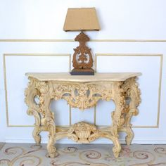 Ornate Cream Console Table $625.00 #thebellacottage #shabbychic #OOAK
