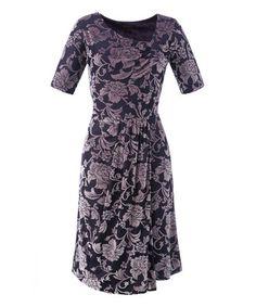 Look at this #zulilyfind! Lilac & Aubergine Floral Asymmetrical Cinch Dress - Women & Plus by GRACE #zulilyfinds