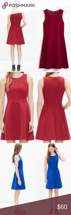 """Madewell Red Adore Dress Classic fit and flare dress by Madewell. In a beautiful shade of dark red. The tailoring is excellent, with seams that keep it interesting and unique...classic with a twist! Sophisticated and subtly stretchy, this sleeveless dress is a definite day-or-night deal. Worn only 2 times. Like new condition! Reasonable offers happily considered Waisted. Falls 36"""" from shoulder. Poly/polyurethane. Machine wash. Import. Item C9640. Madewell Dresses"""