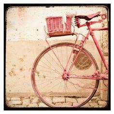 Vintage Style TTV Print, Wall Decor, Girls Room Art, Nursery Room Decor, 8x8 Art Print - Pink Bike on Etsy, $30.00