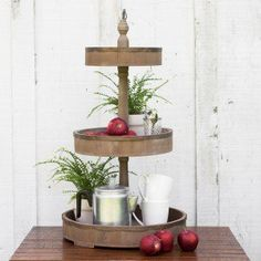 Wood and Tin 3 Tier Tray
