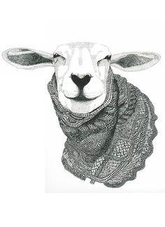 Knitting Sheep Art Print by Berit Lysdal Baerentsen. Gravure Illustration, Illustration Art, Sheep Art, Moose Art, Knitting Humor, Knit Art, Sheep And Lamb, Alpacas, Art Graphique