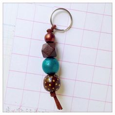 Hand Painted Wood Bead Keychain in Forest Nymph di TheColorfulNest