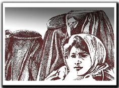 Strong Women   This is an image from the book Global Citizen Creative Arts Text  afghan    strong women    line drawing    illustration     global    citizen