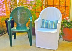 Frumpy to Fresh Plastic Chair Makeover