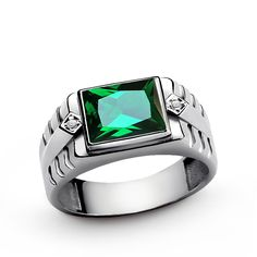 Men's Emerald Ring with GENUINE DIAMONDS, 925 Sterling Silver Emerald Ring for Men, Green Gemstone Ring 6 to 15 sz by ATAjewels on Etsy