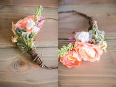 How to DIY an engagement flower crown for a photoshoot out of fake flowers with coral pink silk flowers head wreath bohemian boho flower crown