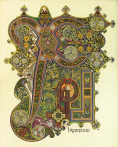 Chi-Rho from The Book of Kells, an illuminated manuscript Gospel book in Latin, containing the four Gospels of the New Testament, together with various prefatory texts and tables. It was created by Celtic monks ca. Book Of Kells, Medieval Manuscript, Medieval Art, Medieval Times, Illuminated Letters, Illuminated Manuscript, Chi Rho, Celtic Culture, Monogram
