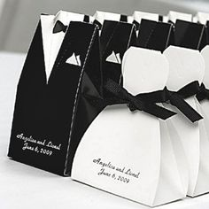 Tuxedo and Gown Favor Boxes - cute for black and white theme!
