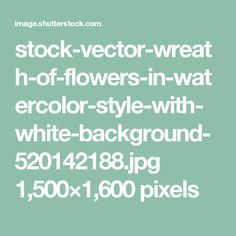 stock-vector-wreath-of-flowers-in-watercolor-style-with-white-background-520142188.jpg 1,500×1,600 pixels