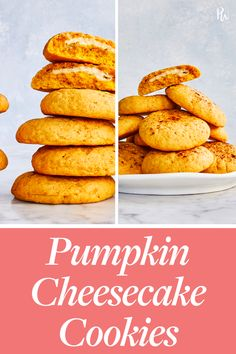 Look no further for a crowd-pleasing, super easy fall dessert: These pumpkin cheesecake cookies are as rich and moist as miniature little cakes. Pear Recipes, Pumpkin Recipes, Fall Recipes, Cookie Recipes, Dessert Recipes, Cheesecake Cookies, Pumpkin Cheesecake, Pumpkin Cookies, Pumpkin Dessert