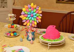 Peep cake and centerpiece