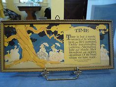 vintage 1926 BUZZA motto TIME by Maurine Hathaway signed S. Buzza clover hanger