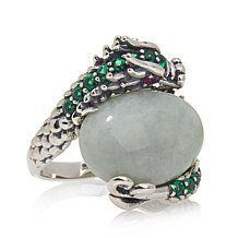 "Jade of Yesteryear Green Jade and CZ ""Dragon"" Ring"