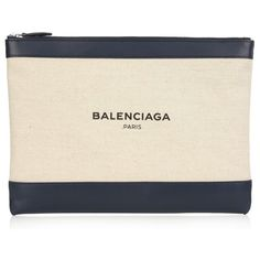 Balenciaga Navy canvas and leather pouch ($415) ❤ liked on Polyvore featuring bags, handbags, cream navy, canvas pouch, canvas handbags, canvas purse, leather pouch and genuine leather handbags