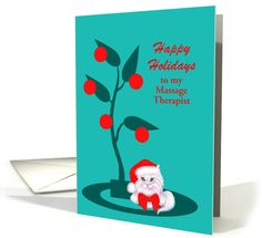 Custom Occupation Christmas White Cat in Santa Hat card