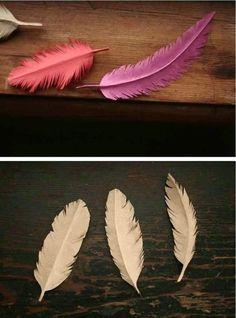 Cómo hacer unas plumas con papel de estraza o kraft ~ Solountip.com