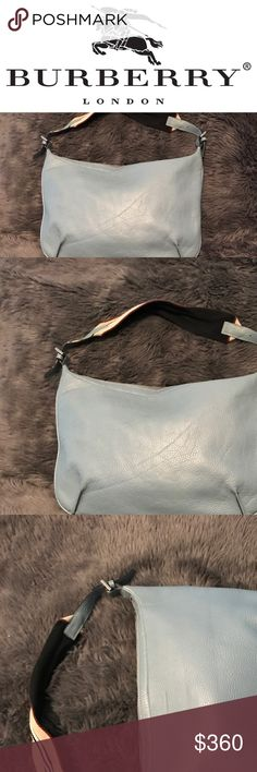"""Burberry Hobo Authentic Burberry Hobo Sea Blue Leather with Canvas and Leather Tan, Navy and White Striped Shoulder Strap.  Approximate Size 14""""L x 1""""W x 10.5""""H and a 7"""" Strap Drop.  Price Firm! Burberry Bags Hobos"""