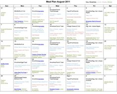 monthly meal calendar template