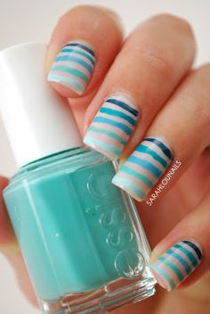 Sarah Lou Nails: Blue Ombre Striped Nails  Born Pretty Store Review!