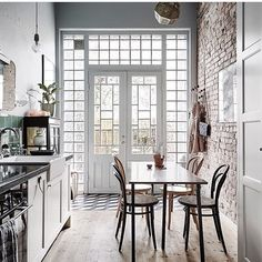 Still pouring over inspo for the new Everygirl office, and I'm obsessed w/ this French country meets urban loft/exposed brick vibe. But also... those windows!  via @entrancemakleri