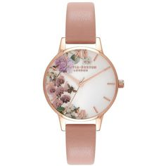 Olivia Burton Women's Enchanted Garden Stainless Steel Leather-Strap... (€93) ❤ liked on Polyvore featuring jewelry, watches, accessories, bracelets, peach, analog watches, round watches, roman numeral wrist watch, stainless steel jewelry and floral watches