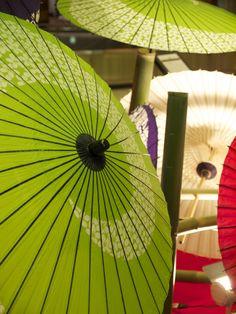 Green and white Japanese umbrellas, Wagasa 和傘