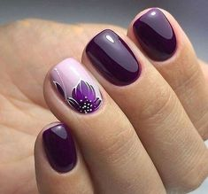 Nail Art Designs In Every Color And Style – Your Beautiful Nails Nail Art Designs Images, Square Nail Designs, Cute Nails, Pretty Nails, Purple Nail Art, Purple Makeup, Nail Art At Home, Short Square Nails, Short Nails