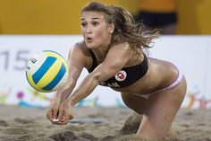 July 18 - Canada Costa Rica Taylor Pischke, of Canada, makes a dig duringa quarter-final women's beach volleyball match against Costa Rica at the Pan Am Games in Toronto, Saturday, July Canada defeated Costa Rica in straight sets. Beach Volleyball Girls, Volleyball Pictures, Women Volleyball, Foto Sport, Sport Treiben, Sport Girl, Female Volleyball Players, Woman Beach, Athletic Women