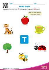 Phonic Match T Preschool Phonics, Learning Phonics, Phonics Games, Toddler Learning Activities, Teaching Kindergarten, Kindergarten Worksheets, Letter S Worksheets, Nursery Worksheets, Alphabet Worksheets