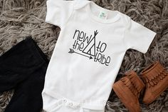 new to the TRIBE, handmade, hello world, new mom, baby shower gift, girl, boy, unisex, onesie, bodysuit, outfit by CharmantLittles on Etsy