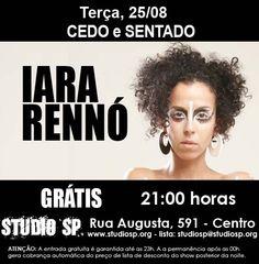 Com repertório baseado na obra de Mário de Andrade, a cantora Iara Rennó se apresenta no projeto Cedo e Sentado do Studio SP, no dia 25, às 21h, com entrada Catraca Livre.
