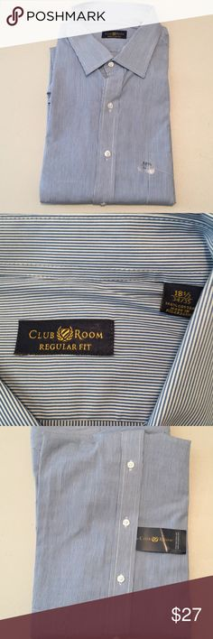 Club Room Pinstripe Men's Dress Shirt Size 34/35 NWT's men's dress shirt by Clum Room.  Pinstripe design with navy and white stripes.  Size 34/35 with neck size 18.5. Club Room Shirts Dress Shirts
