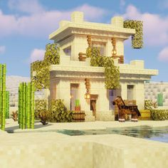Minecraft Desert House, Casa Medieval Minecraft, Minecraft Cottage, Cute Minecraft Houses, Minecraft City, Minecraft Room, Minecraft Plans, Minecraft House Designs, Minecraft Construction