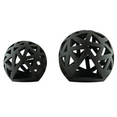 Set of 2 Modern Ceramic Tealight Candle Lanterns, Black Color, Large & Small, Sphere Design Small Candles, Tea Light Candles, Tea Lights, Ceramic Lantern, Lantern Designs, Lantern Set, Modern Ceramics, Candle Lanterns, Tabletop