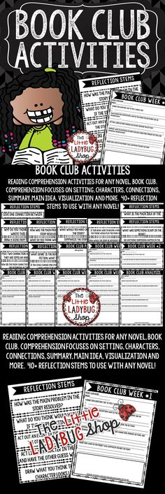 Book Club Activities for Reading Comprehension includes a 6 Week Packet & Reflection Comprehension Stems that can be used with ANY Book Group, Novel Study, or Literature Circles group. .This helped my students keep accountability for their weekly reading! I used this for 6 Week Comprehension Activities for ANY Novel, Book Club.