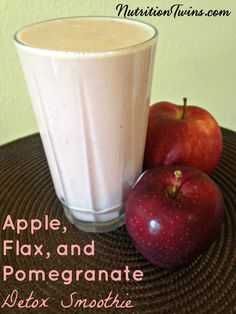 Apple, Flax, and Pomegranate Detox Smoothie | Rich and Creamy | Floods Body with Antioxidants | Only 295 Calories, 15 grams Protein | For MORE RECIPES, fitness & nutrition tips please SIGN UP for our FREE NEWSLETTER www.NutritionTwins.com