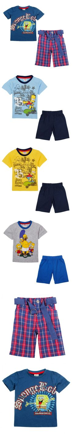 NOVA 2015 fashion designs striped pants printed cute spongeBob chilrdern sets summer kids clothes baby boy casual suits for 2-6y