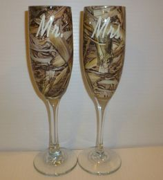 Rustic Wedding Personalized Champagne Flutes Processed In Wetlands Long Leaf Fatal Flight Camo