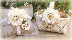 Darling rustic flower girl and ring bearer set from MinSvenskaLandgard on Etsy.com  ...I like!!