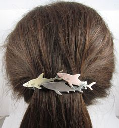 Shark French Barrette 80mm- Hair Accessories- Hair Clips- Shark Jewelry by PINSwithPERSONALITY on Etsy https://www.etsy.com/listing/205638249/shark-french-barrette-80mm-hair