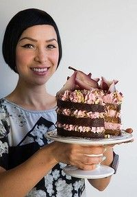 Katherine Sabbath with one of her layer cake creations -  spiced caramel with rosewater cream.