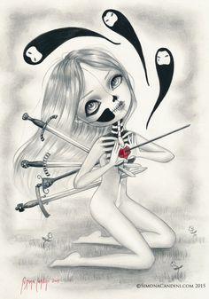 Kill Me Again LIMITED EDITION seulement 25 imprimer signé numéroté Simona Candini lowbrow de skully fille gothique Fantasy Sugar Skull Day de la morts