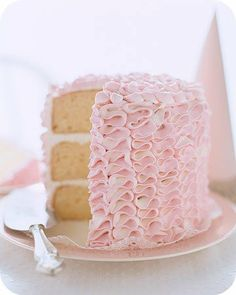 cake decorating is not my forte but this ruffly decorated cake is super easy to make.  Perfect for wedding or Easter