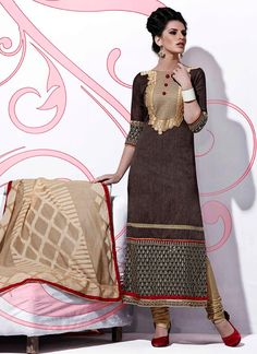 Resplendent Embroidered Work Beige and Brown Cotton   Designer Suit