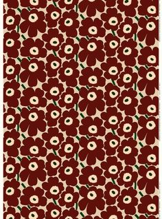 The classic Pieni Unikko pattern decorates this printed cotton fabric.Marimekko's famous poppy pattern Unikko was born in 1964 in a time when the design house's collections featured mostly abstract prints. Marimekko Fabric, Poppy Pattern, Hippie Art, Room Posters, Fabric Online, Wall Collage, Flower Patterns, Printing On Fabric, Poppies