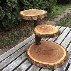 Black Walnut Wood Rustic Cake Cupcake Stand Wedding party shower 3 Tier Step
