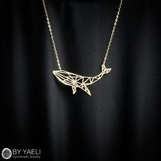 Animal necklace whale necklace geometric necklace gold by ByYaeli