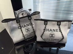 Chanel Toile Deauville Canvas Shopping Tote Bag 2015-2016 Collection | Replica handbags Review