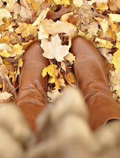 it's such a perfect day, when your shoes match the fallen leaves. Autumn Day, Autumn Leaves, Fallen Leaves, Winter, Fall Back, Lovely Smile, Warm Boots, Best Essential Oils, Happy Fall Y'all